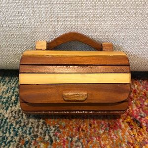 VTG 70s Boho wooden box mini bag handle crossbody